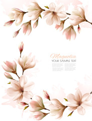 Fototapete - Abstract spring background with white magnolia branches. Vector.
