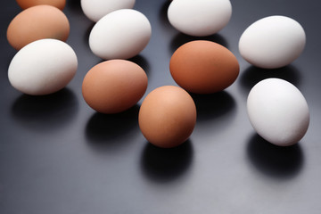 different chicken eggs lie on dark background
