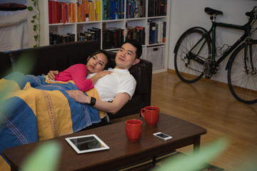 Affectionate couple relaxing on sofa in living room