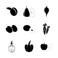 icon Fruits And Vegetables with salad, coco, green plum, fruit and fruits