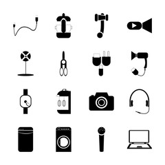 icon Technology with hear, electrical, video, local and photographer