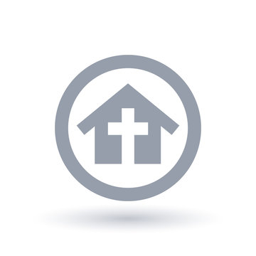 Church building with cross icon in circle outline. Religious community house sign. Christian home fellowship symbol. Vector illustration.