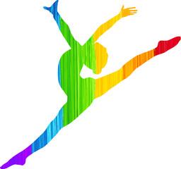 Painted Rainbow Dancer Silhouette
