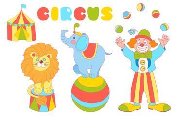 Circus characters clown, elephant, lion vector set