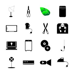 icon Technology with background, kitchenware, pic, dvd and paper