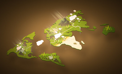 Illustration of peaceful isometric world with light shafts and brown background
