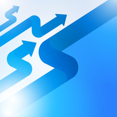 Abstract blue arrow sign growth to technology background