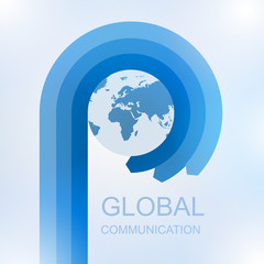 Global communication with Arrow in circle around world