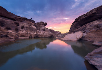 "Sam Pan Bok is call the ""Canyon of Thailand"" located in Ubon Ratchathani, Thailand."