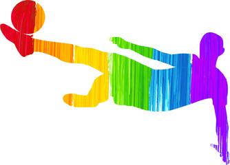 Painted Rainbow Man Kicking Ball Soccer Silhouette