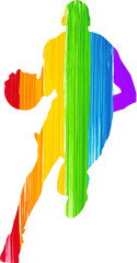 Painted Rainbow Man Playing Basketball Silhouette