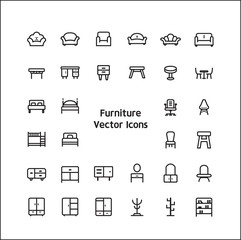 Stock vector illustration - Outline web icon set linear icon furniture and chair , deco