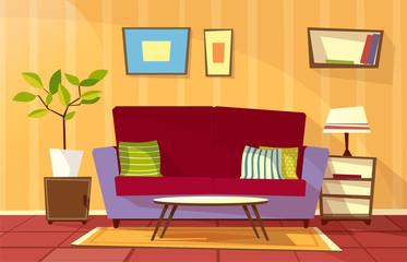 Vector cartoon living room interior background template. Cozy house apartment concept. Illustration with sofa with pillow, bedside table with lamp, bookshelf, carpet plant in pot and pictures at wall.