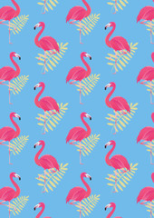 seamless flamingo background pattern vector illustration