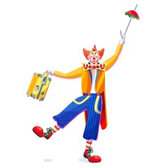Circus performance clown with umbrella and yellow suitcase.The clown balances on one leg. Cartoon vector illustration.