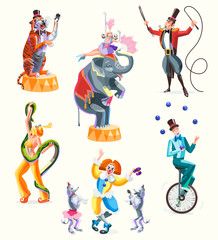 Circus characters: tiger and trainer, woman with snake, girl and elephant, juggler on unicycle, clown with circus poodles. Isolated vector illustration for design banners, posters.