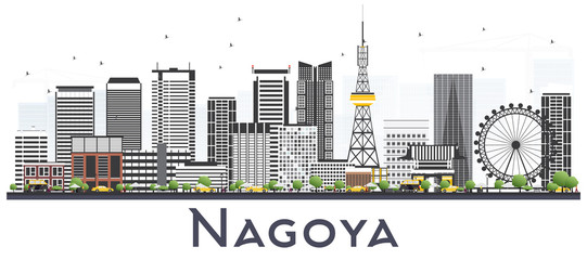 Nagoya Japan City Skyline with Gray Buildings Isolated on White.