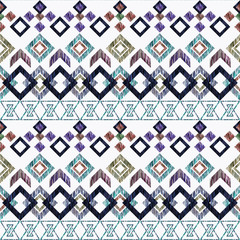 Seamless colorful ethnic ikat pattern on white background.