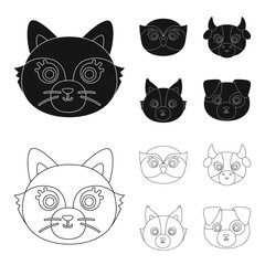 Owl, cow, wolf, dog. Animal muzzle set collection icons in black,outline style vector symbol stock illustration web.
