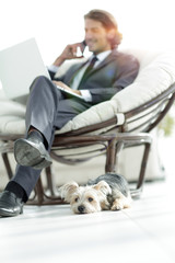 businessman solving business issues at home. blurred image