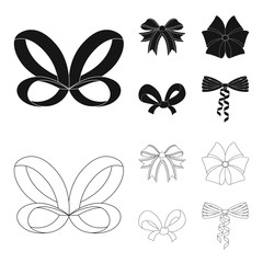 Bow, ribbon, decoration, and other web icon in black,outline style. Gift, bows, node, icons in set collection.