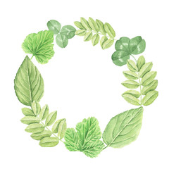 Floral hand drawn green watercolor wreath with leaves, isolated on white background, retro botanical illustration.