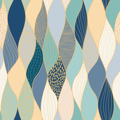 Seamless wave hand-drawn pattern, waves background seamlessly tiling .Can be used for wallpaper, pattern fills, web page background,surface textures. Gorgeous seamless wave background