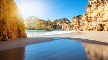 stunning beautiful bright landscape, cliffs of the Algarve on the Atlantic coast, Portugal