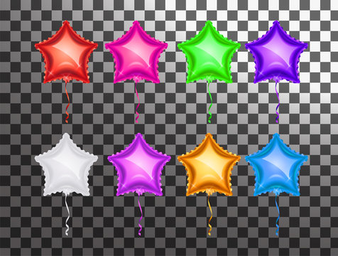 Star balloon colorful set on transparent background. Party balloons event design decoration. Balloons isolated air. Mockup for balloon birthday,  isolated object