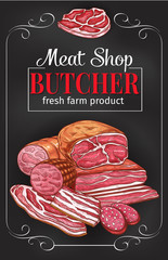 Butcher shop blackboard with meat and sausage