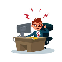 Angry Business Man Working On Computer Sit At Office Desk Over White Background Flat Vector Illustration