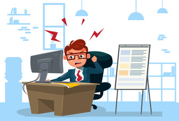 Furious Business Man Working On Computer Sit At Desk Over Office Background Flat Vector Illustration