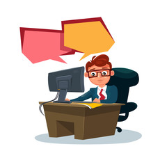 Business Man Working On Computer Sit At Office Desk Over White Background Flat Vector Illustration
