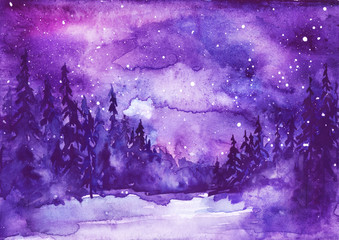 Watercolor painting, illustration, greeting card. Forest, suburban landscape, silhouettes of fir trees, pines, trees and bushes, the night sky with stars. Blue, purple color.