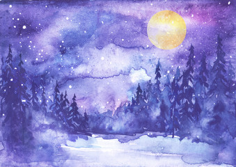 Watercolor painting, illustration, greeting card. Forest, suburban landscape, silhouettes of fir trees, pines, trees and bushes, the night sky with stars,yellow moon. Blue, purple color.
