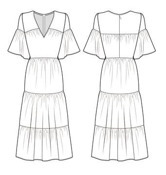 MAXI DRESS fashion flat technical drawing template