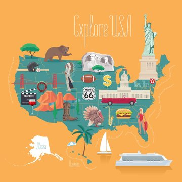 Map of USA vector illustration, design