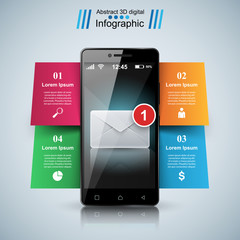 Digital gadget, smartphone, mail, email, envelope  icon Business infographic Vector eps 10