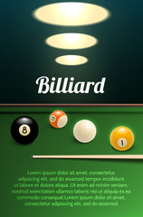 Billiards sport 3d banner with table, ball and cue