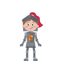 Little knight in iron armor. Medieval warrior character isolated on white background vector illustration.