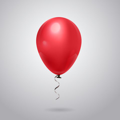 Shiny Red Balloon With Ribbon On Grey Background Flat Vector Illustration