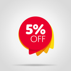 Special offer sale red tag isolated vector illustration. Discount offer price label, symbol for advertising campaign in retail, sale promo marketing, 5% off discount sticker, ad offer on shopping day