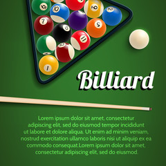 Billiards 3d poster with green table, ball and cue