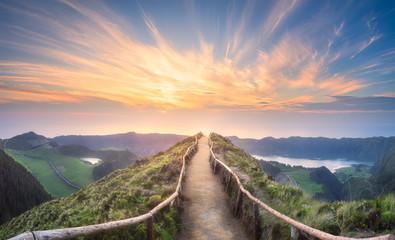Photo sur Toile Route dans la forêt Mountain landscape Ponta Delgada island, Azores