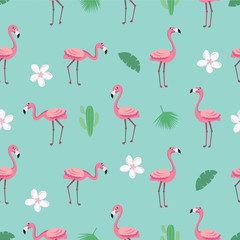 Photo on textile frame Flamingo Flamingo pattern - trendy seamless pattern in flat style with flamingos, tropical flowers, leaves and cactus. Vector illustration design template