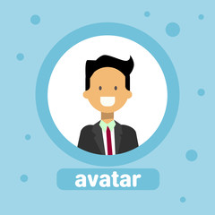 Male Avatar Business Man Profile Icon Element User Image Face Flat Vector Illustration