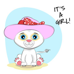 Cute cartoon lion in cap with lettering Its a Girl