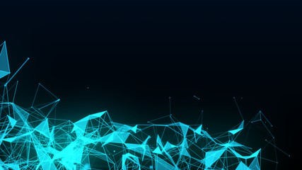 Abstract futuristic illustration of polygonal surface with connecting dots on black background. Neural mesh representing internet connections, cloud computing and blockchain distributed network
