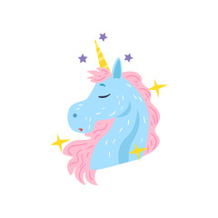 Cute dreaming unicorn character cartoon vector Illustration on a white background