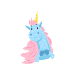 Cute lovely magic unicorn character cartoon vector Illustration on a white background